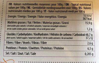 Moelleux Bio - orange douce - Informations nutritionnelles - fr