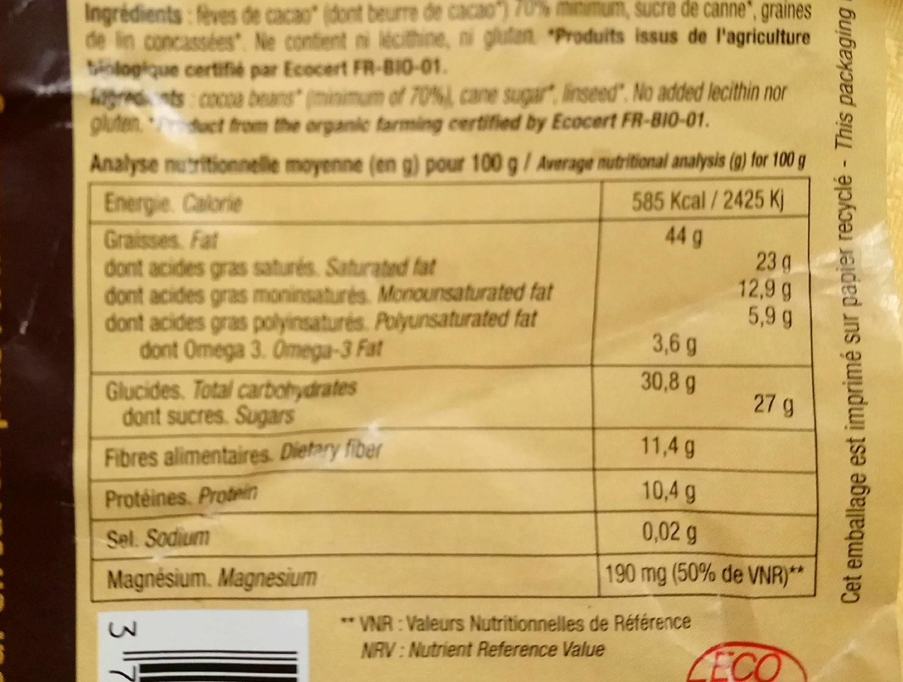 Omegachoco - Informations nutritionnelles - fr