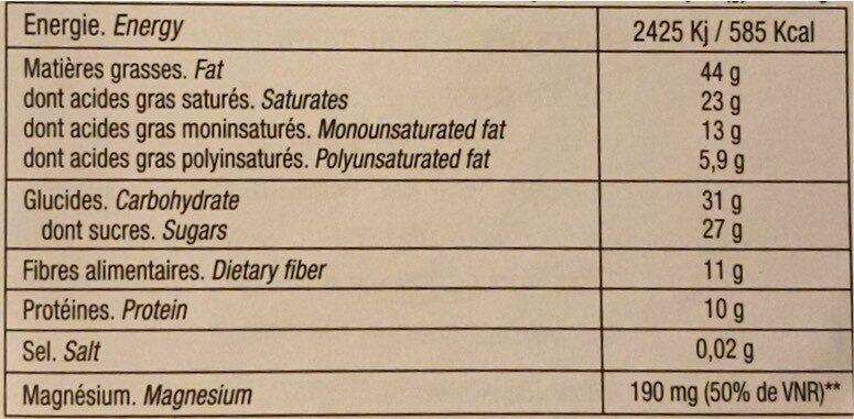 Chocolat pur beurre de cacao - Informations nutritionnelles - fr