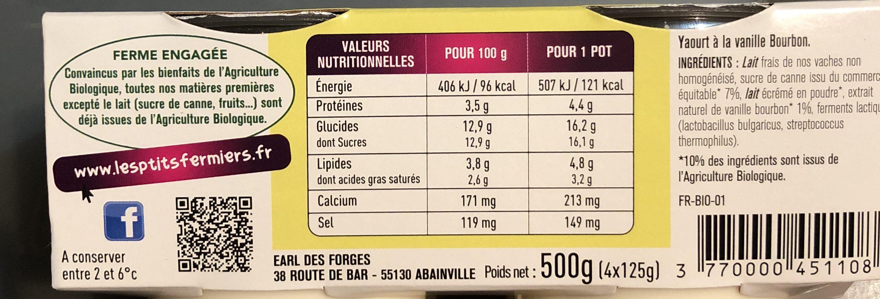 Yaourt fermier vanille bourbon - Ingrediënten