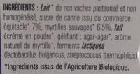Yaourts à la myrtille sauvage - Ingrédients - fr