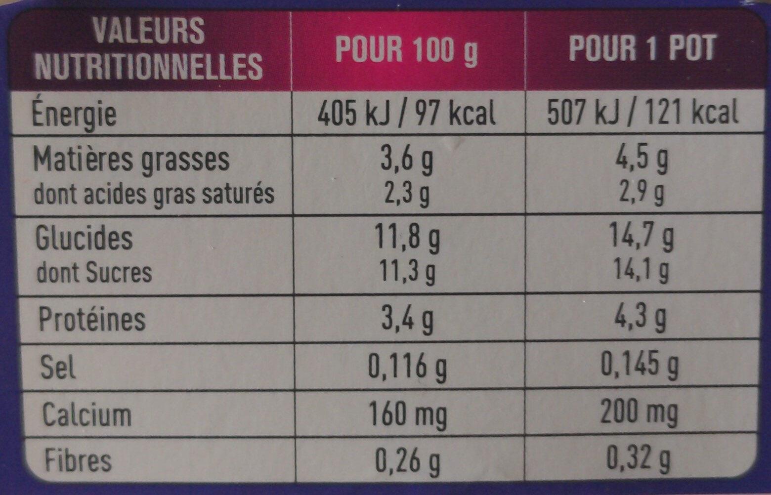Yaourts à la myrtille sauvage - Informations nutritionnelles - fr