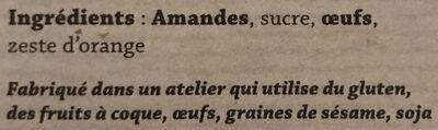 Petits four aux amandes - Ingrédients - fr