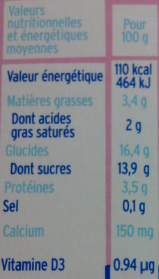 Milk' kiss - Nutrition facts - fr