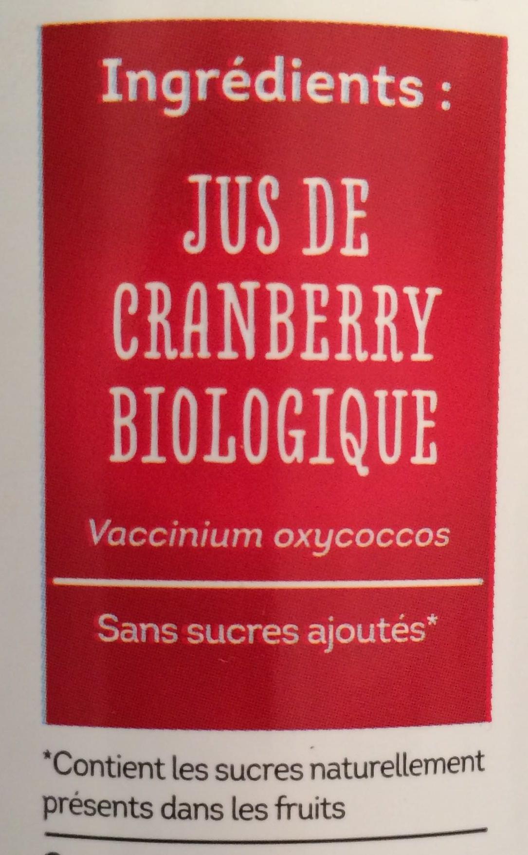 Jus de CRANBERRY - Ingrédients - fr