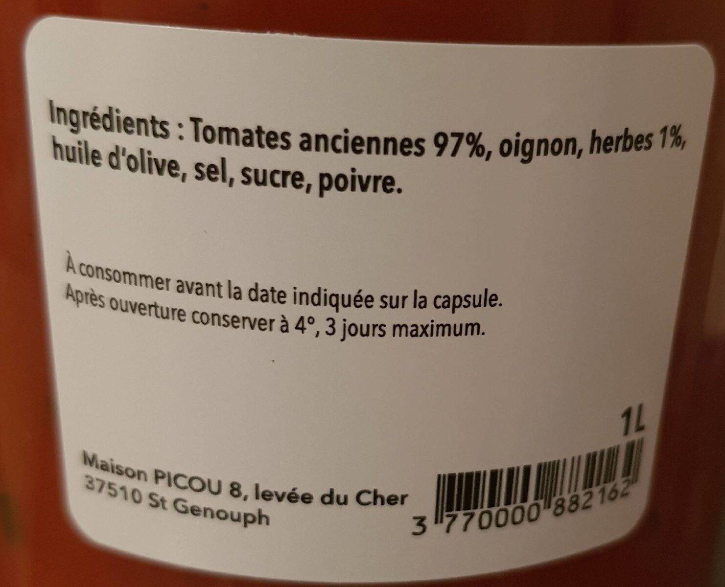 Velouté de tomate aux herbes - Informations nutritionnelles