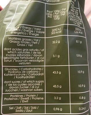 Pétales de carotte au thym - Informations nutritionnelles - fr