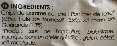 Chips de Pomme de Terre Bio Finement Salées au Sel de Guérande - Ingredientes