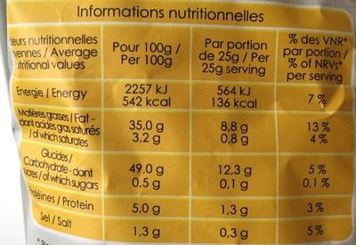 Chips de Pomme de Terre Bio Finement Salées au Sel de Guérande - Información nutricional