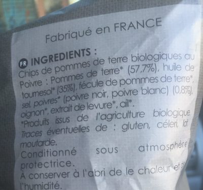Chips de pomme de terre BIO au poivre - Ingrediënten