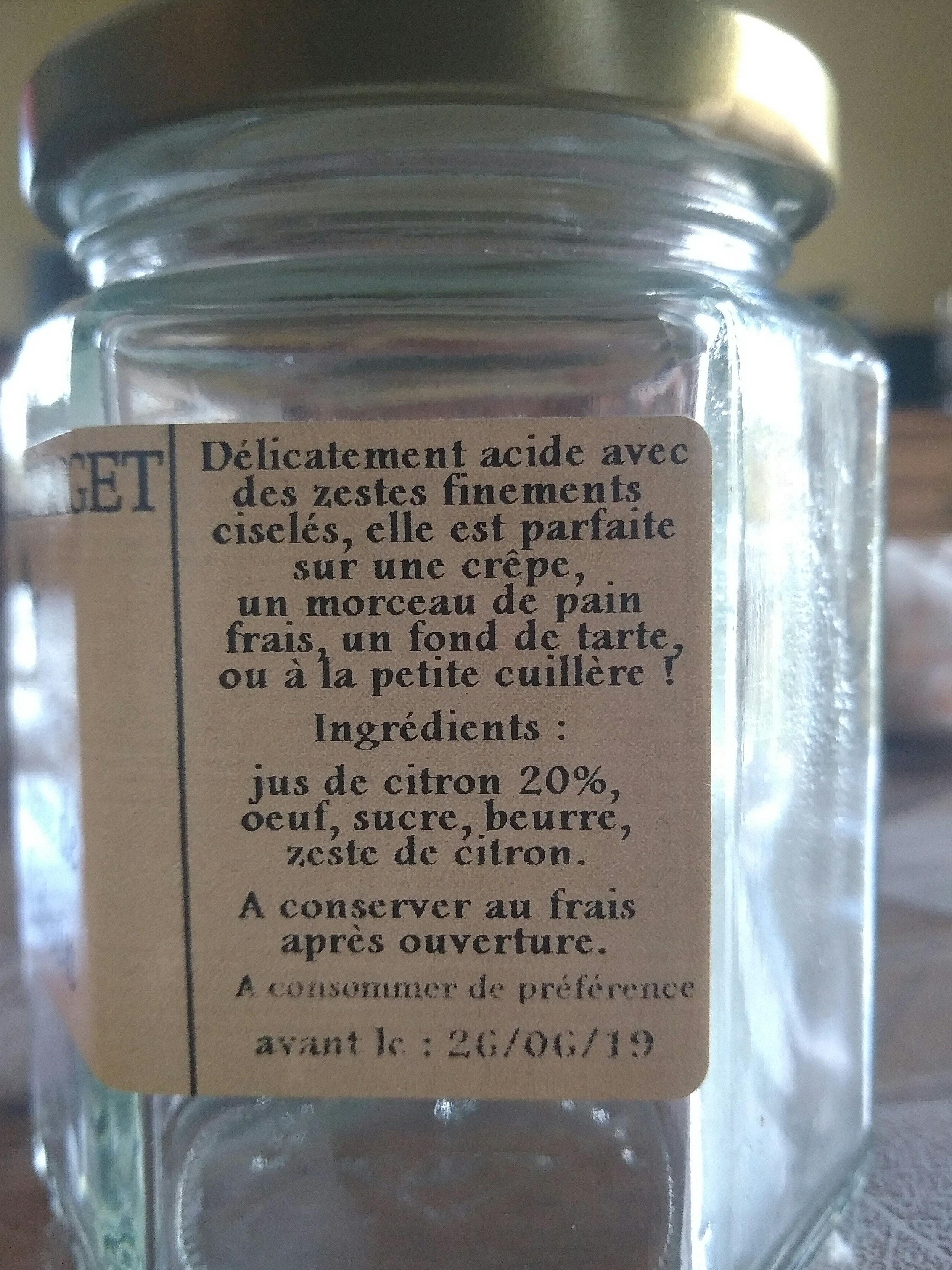 crème de citron - Ingrédients