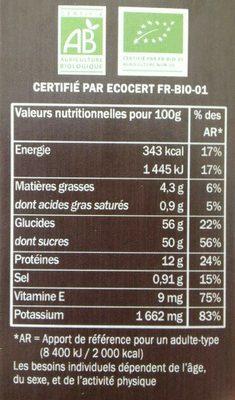 Baie de goji bio - Voedingswaarden - fr