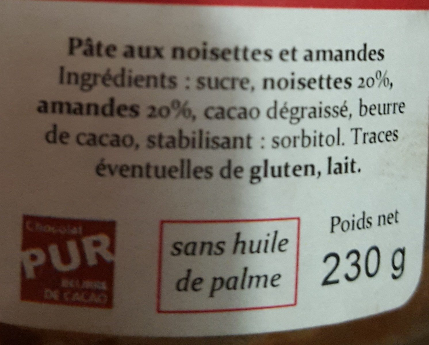 Pâte à tartiner amandes noisettes - Ingredients