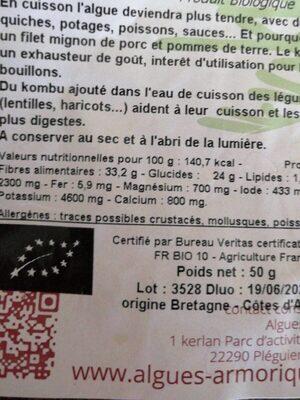 KOMBU ROYAL - Informations nutritionnelles - fr