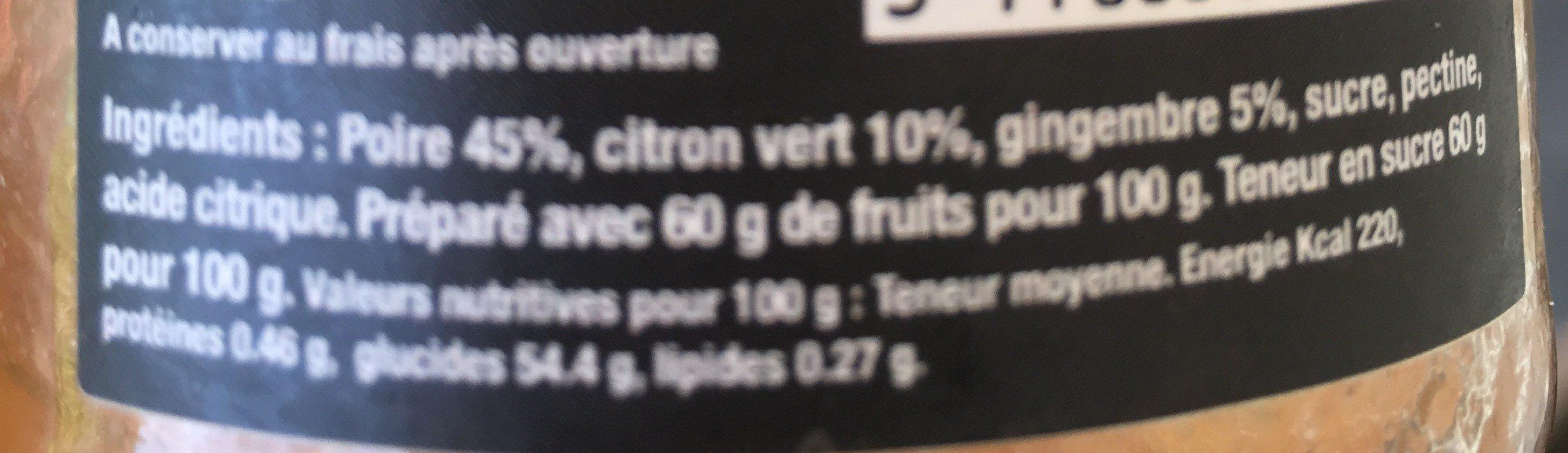 Confiture de poire, citron vert et gingembre - Ingrediënten