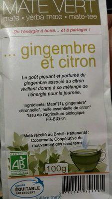 Maté Vert Gingembre et Citron - Voedigswaarden