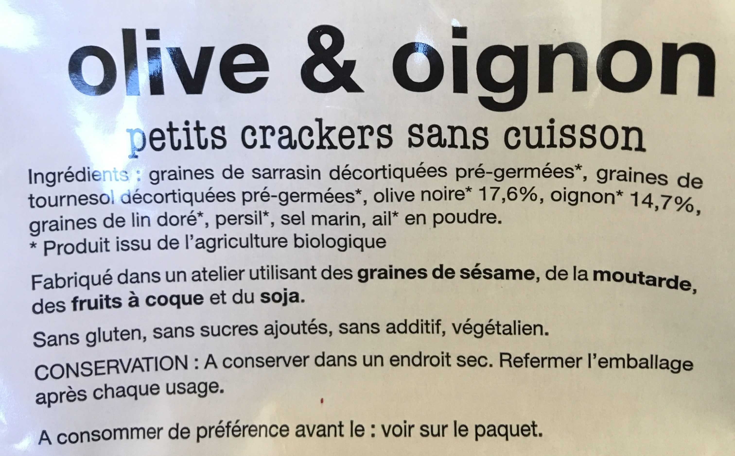 Petits crackers sans cuisson Olives & Oignon - Ingredients