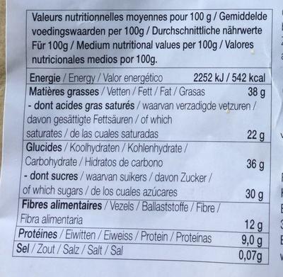 Ticru sésame coco - Informations nutritionnelles - fr