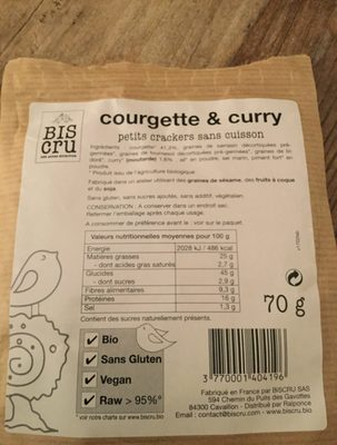 Biscuit Biscru Courgette Curry - Ingrédients