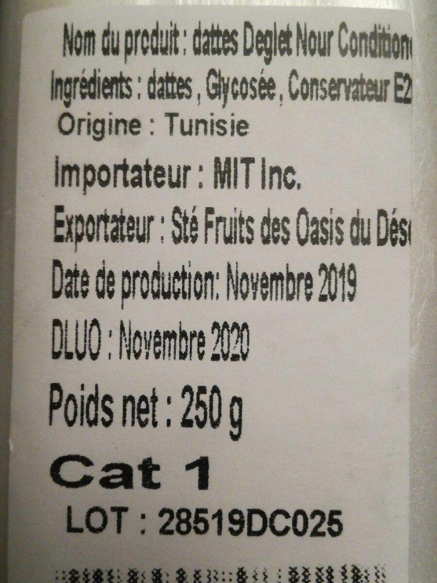 Dattes de Tunisie - Informations nutritionnelles - fr