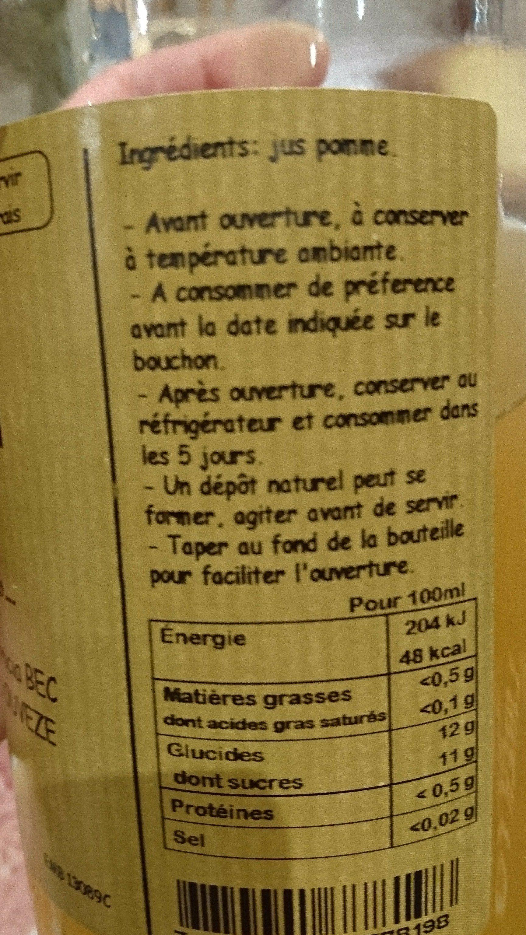 Jus de pomme - Ingredienti - fr
