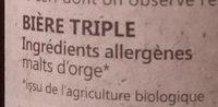 Biere Volcelest Triple 33CL - Médaille De Bronze Paris - Ingredients