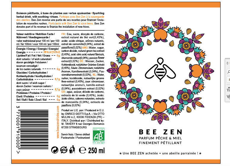 Bee Zen Pêche & Miel bio - Ingredientes