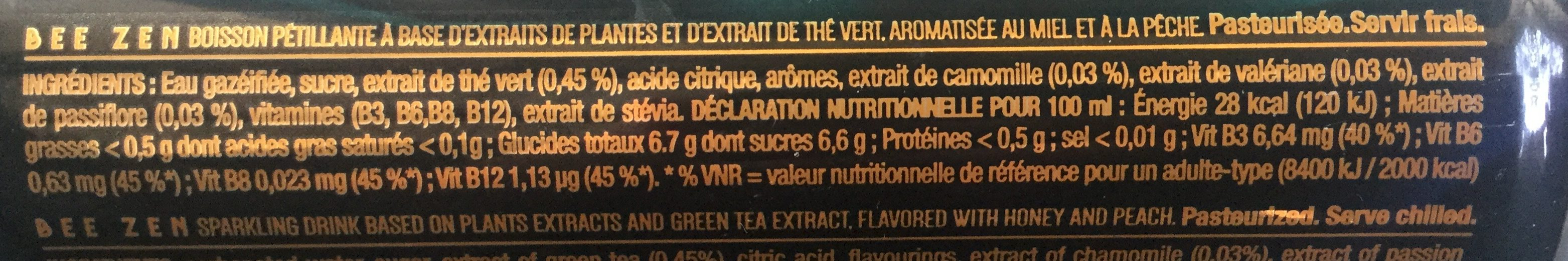 Bee Zen parfum pêche - Nutrition facts