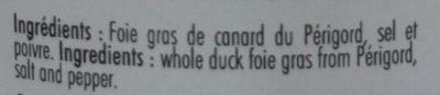 Foie gras de canard entier du Périgord - Ingrédients