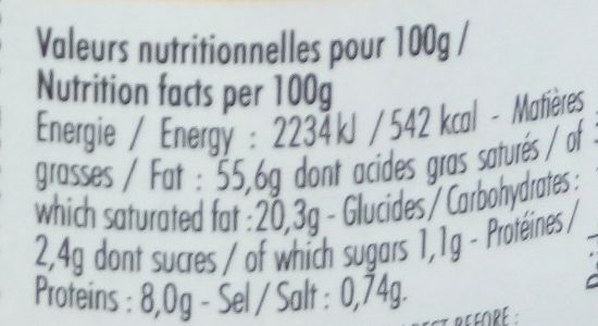Foie gras de canard entier du Périgord - Informations nutritionnelles