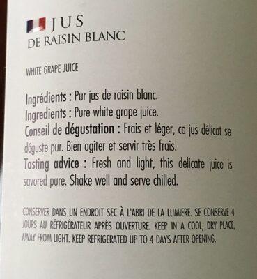 Jus de raisin blanc - Ingrediënten - fr