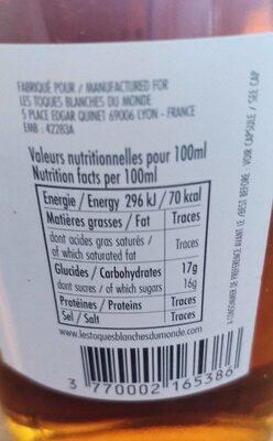 Jus de raisin blanc - Voedingswaarden - fr