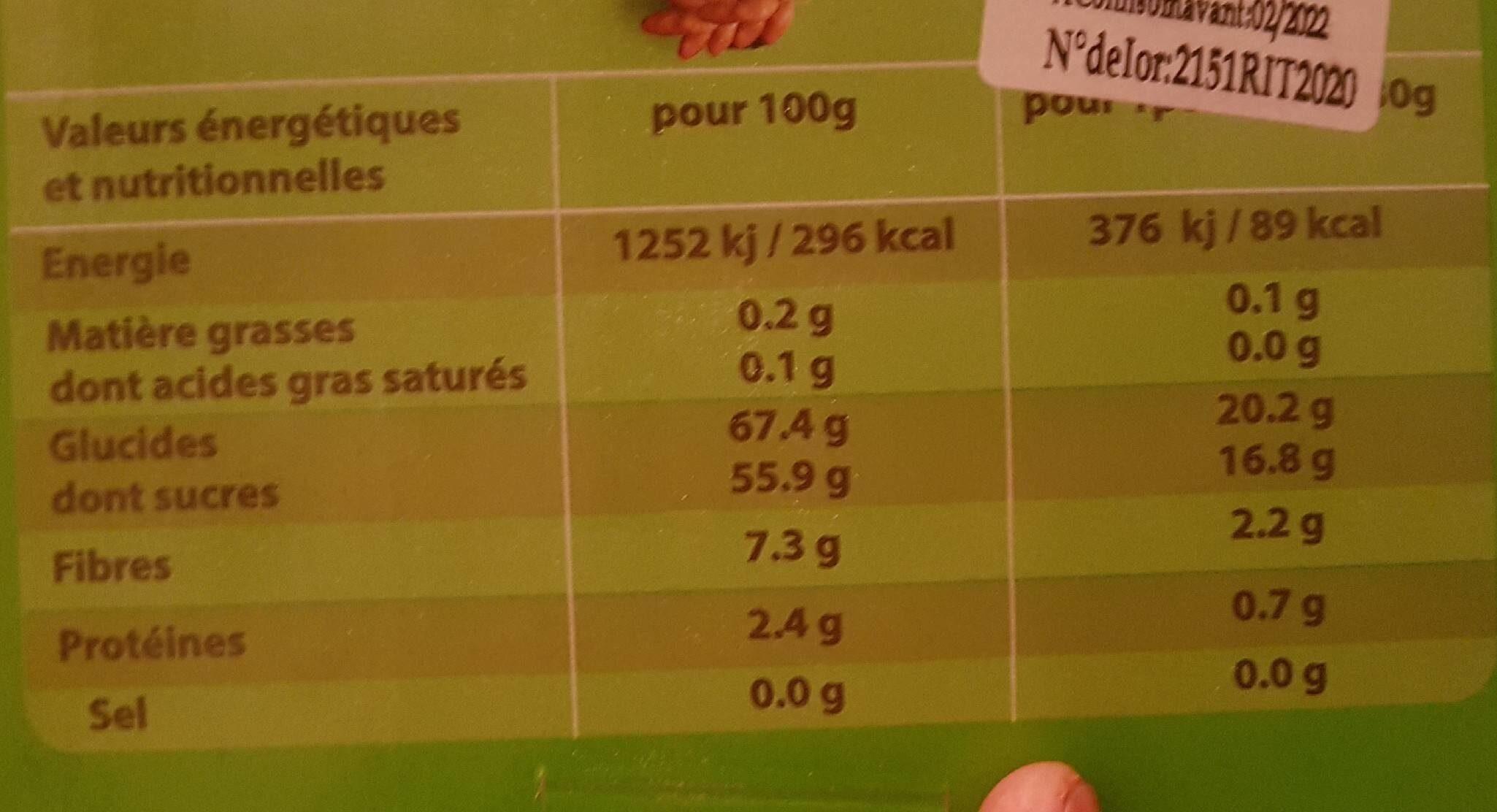 Datte deglet nour - حقائق غذائية - fr