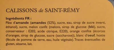 Les Calissons De Saint-rémy - Ingredients - fr