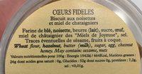 Coeurs fideles - Ingredients