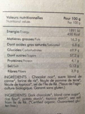Préparation Bio Sans Gluten Pour Fondant Au Chocolat - Nutrition facts