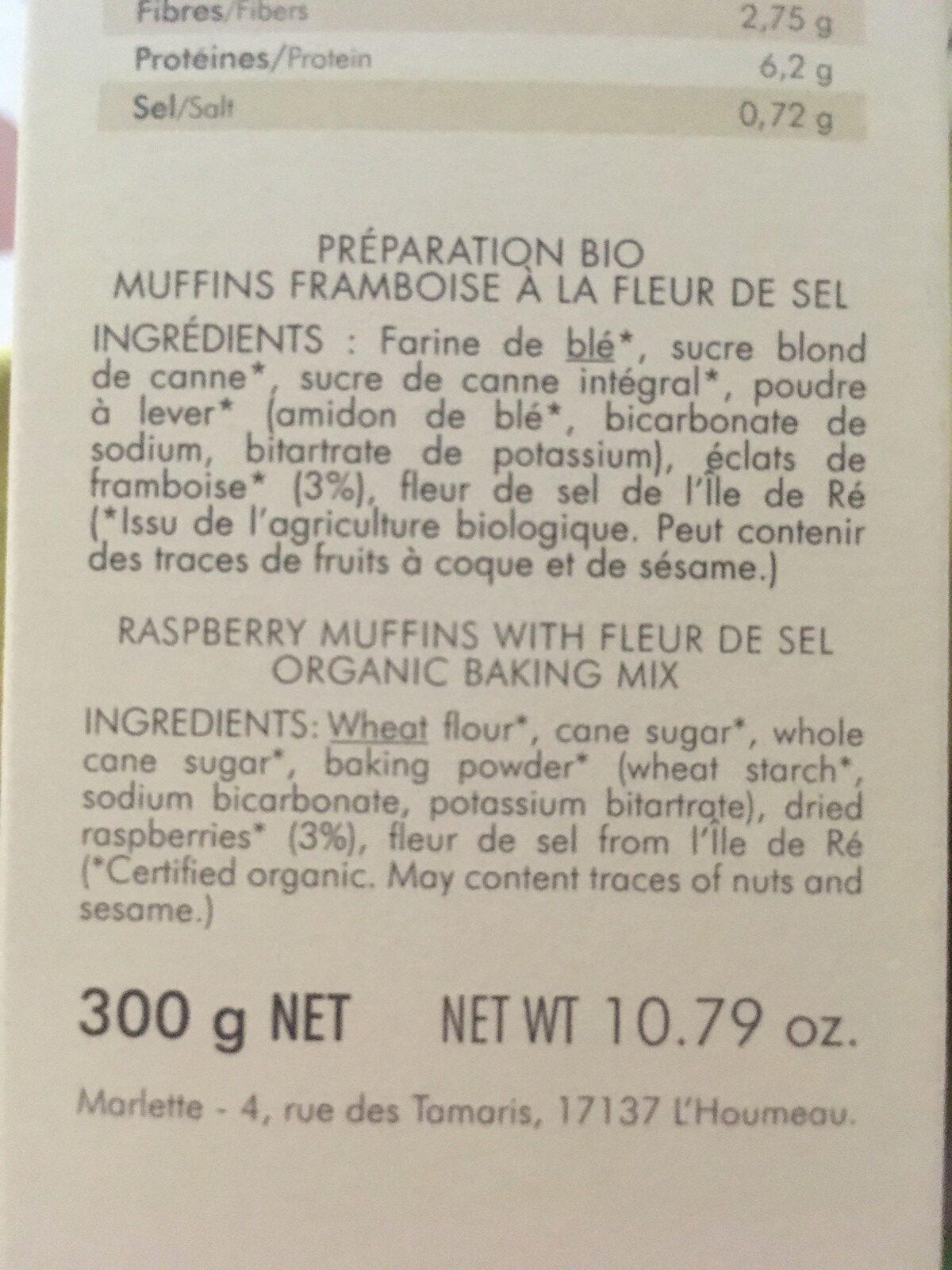 Muffins framboises a la fleur de sel de l'ile de ré - Ingrédients - fr