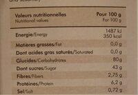 Muffins framboises a la fleur de sel de l'ile de ré - Informations nutritionnelles - fr