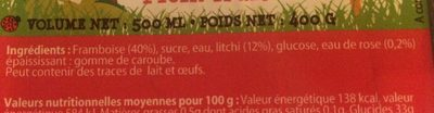 Sorbet plein fruit Framboise Litchi eau de rose - Ingredients - fr