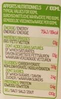 Eau de coco Sélection Fraîcheur - Información nutricional