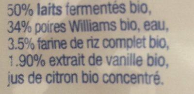 Brassé poire vanille 90g - Ingredients - fr