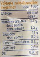 Brassé poire vanille 90g - Nutrition facts - fr