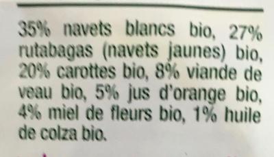Navets Carotte Veau-Good Gout-220g - Ingrédients