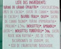 Cookies tendres - Ingredients