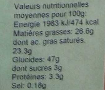 Préparation pour flan noix de coco - Informations nutritionnelles