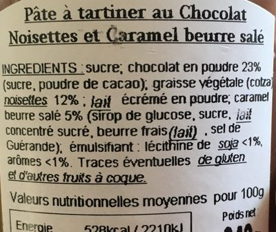 Les Gourmandes - Pâtes à tartiner au chocolat - Ingredienti - fr