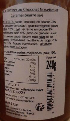 Les Gourmandes - Pâtes à tartiner au chocolat - Valori nutrizionali - fr