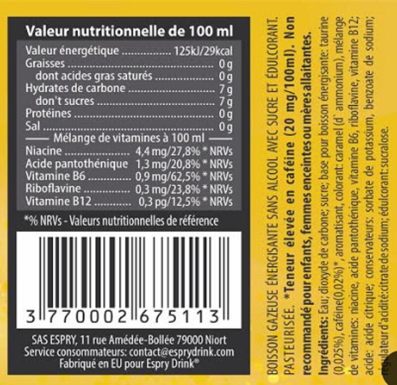 Espry Drink - Ingredients - fr