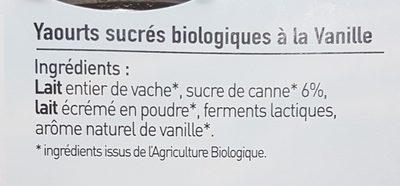Yaourts biologiques à la vanille - Ingredients