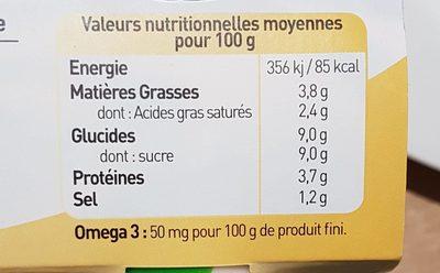 Yaourts biologiques à la vanille - Nutrition facts